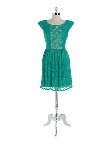 A.B.S. BY ALLEN SCHWARTZLace Illusion Fit and Flare Dress