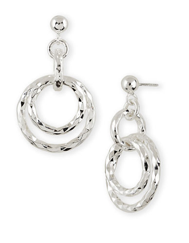 LORD & TAYLOR Sterling Silver Double Ring Drop Earrings