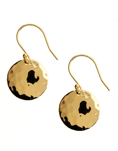 LORD & TAYLOR18 Kt Gold Over Sterling Silver Hammered Disc Drop Earrings