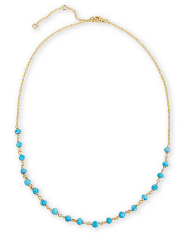 LORD & TAYLOR 18Kt Gold and Turquoise Bead Frontal Necklace