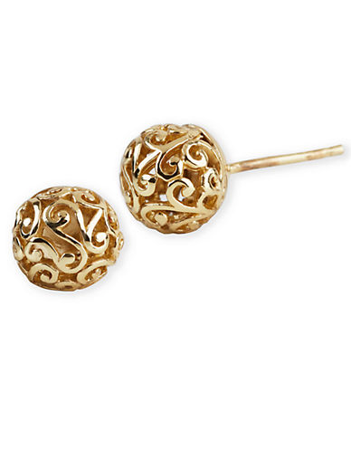 LORD & TAYLOR18 Kt Gold Over Sterling Silver Lace Ball Earrings