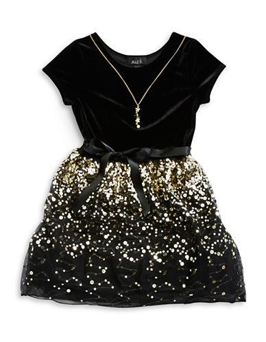 Ally B Girls 7-16 Velvet and Sequin Skirt Dress