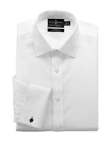 BLACK BROWN 1826 Regular Fit Non-Iron White Broadcloth Dress Shirt
