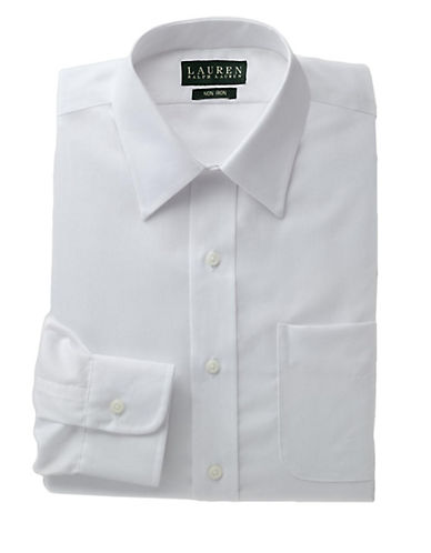 LAUREN RALPH LAUREN Regular Fit Non-Iron White Twill Dress Shirt