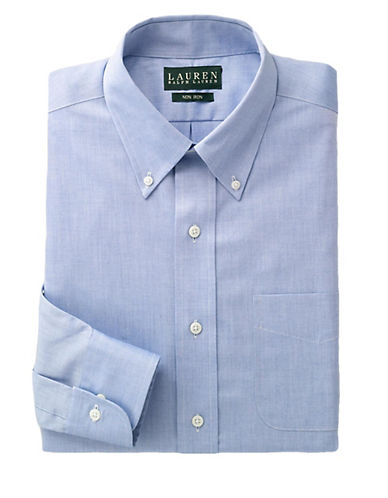 LAUREN RALPH LAUREN Regular Fit Non-Iron Blue Pin-Point Dress Shirt