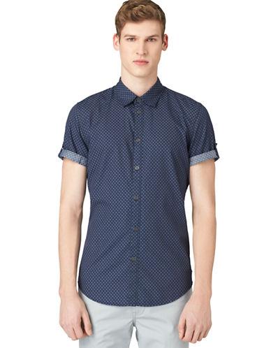 CALVIN KLEIN JEANSModern Fit Square Print Denim Sport Shirt