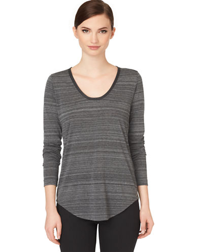 CALVIN KLEIN JEANSFaux Leather-Trimmed Heathered Knit Top