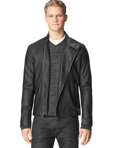 CALVIN KLEIN JEANS Textured Faux Leather Moto Jacket