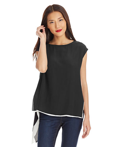 EILEEN FISHER Sleeveless Asymmetrical Silk Blouse
