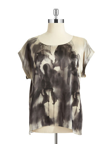 EILEEN FISHER PLUS Plus Silk Patterned Blouse