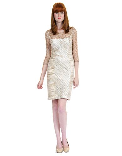 KAY UNGERMetallic Tweed Lace Trim Dress