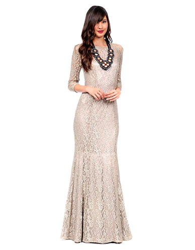 Shop Kay Unger online and buy Kay Unger Lace Mermaid Hem Gown dress online