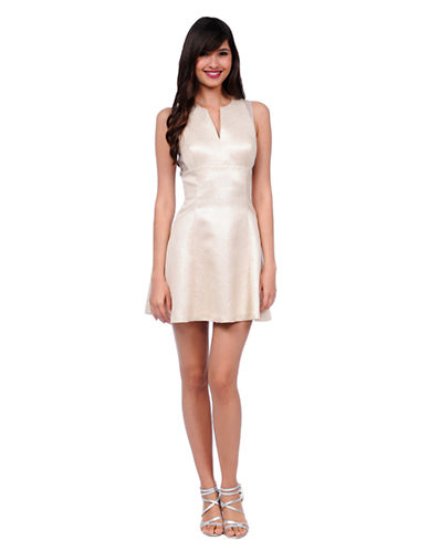 PHOEBE COUTURE Metallic Fit and Flare Dress