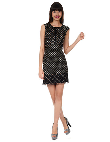 PHOEBE COUTURELattice Beaded Shift Dress