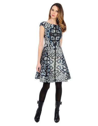 Shop Kay Unger online and buy Kay Unger Abstract Print A Line Dress dress online