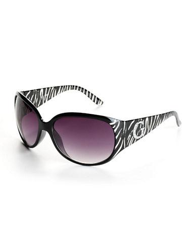 GUESSZebra-Striped Oval Sunglasses