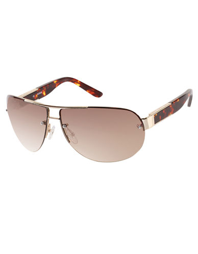 GUESS Semi-Rimless Metal Aviator Sunglasses