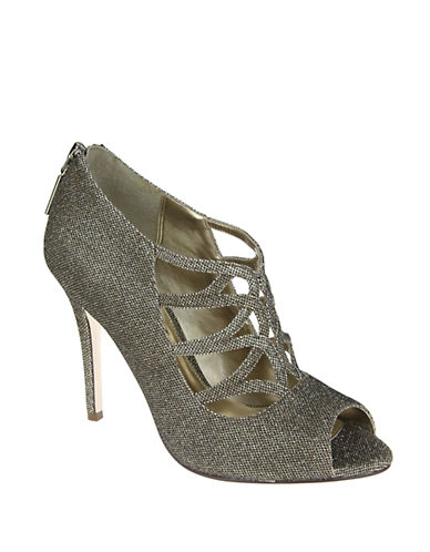 NINA Glitter Leather Latticed Peep Toe Pumps