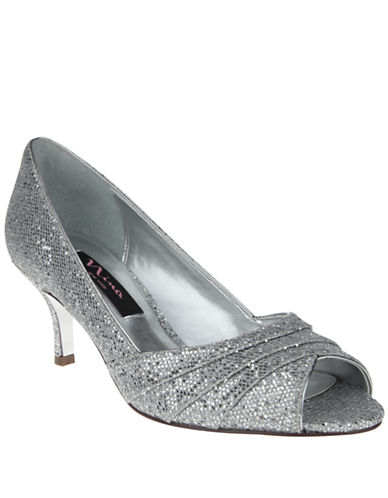 NINA Metallic Embossed Leather Peep Toe Pumps
