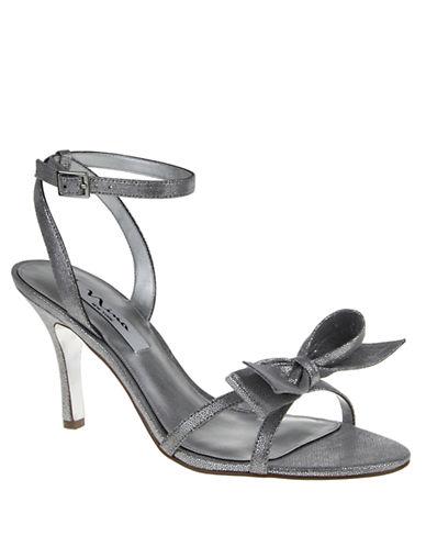 NINAVianna Metallic Open-Toe Bow Sandals