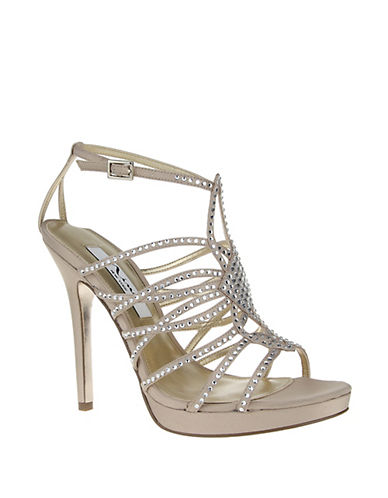 NINAFoxy Beaded Satin Strappy Sandals