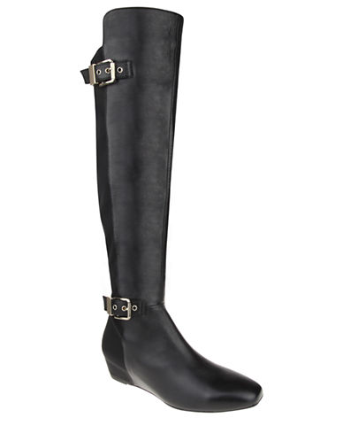 NINA Floriane Leather Over-The-Knee Wedge Boots