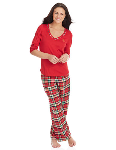 Lauren Ralph Lauren Long Sleeve Plaid Pajamas for Women