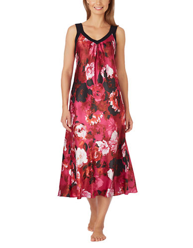 OSCAR DE LA RENTAFloral Print Long Charmeuse Nightgown