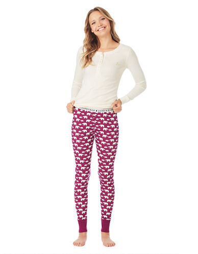 JANE AND BLEECKER Ribbed Henley and Leggings Pajama Set
