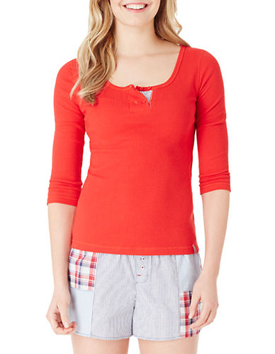 JANE AND BLEECKERRibbed Three-Quarter Sleeve Sleep Shirt