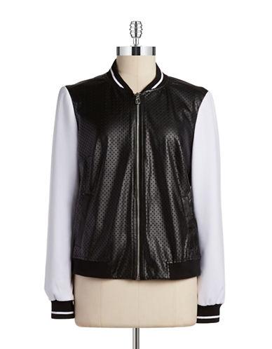 JONES NEW YORKFaux Leather Varsity Jacket