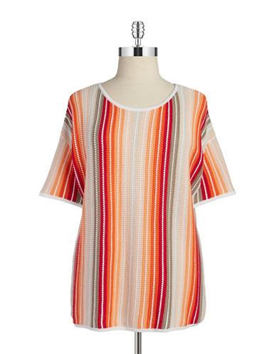 JONES NEW YORK PLUSPlus Striped Knit Shirt
