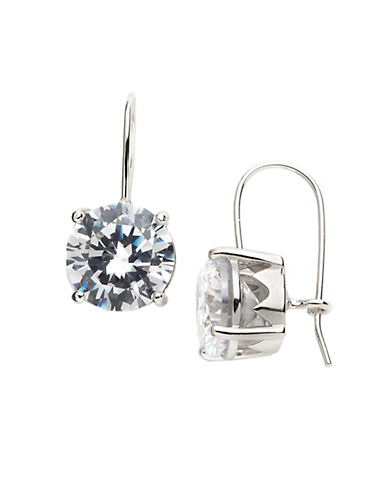 LORD & TAYLOR Sterling Silver And Cubic Zirconia Drop Earrings