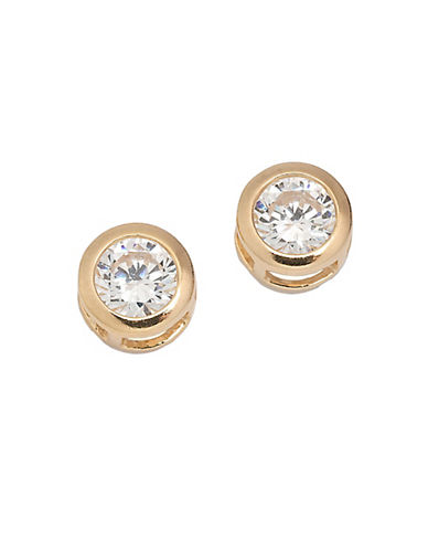LORD & TAYLOR 18 Kt Gold Plated Cubic Zirconia Stud Earrings