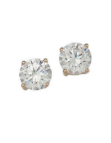 LORD & TAYLOR18 Kt Gold Plated Solitaire Cubic Zirconia Stud Earrings