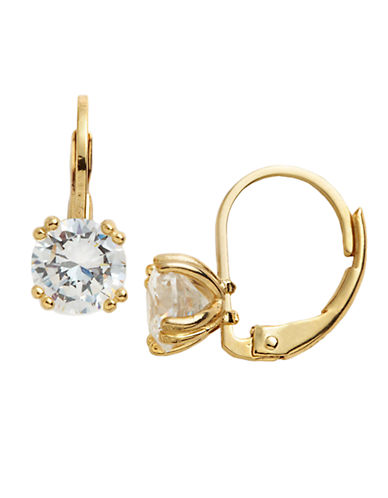 LORD & TAYLOR18 Kt Gold Over Sterling Silver And Cubic Zirconia Solitaire Drop Earrings