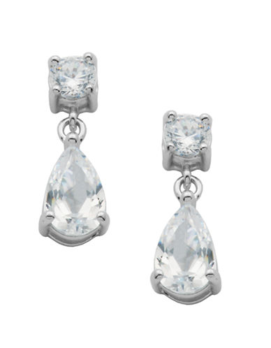 LORD & TAYLOR Platinum Plated-Sterling Silver Cubic Zirconia Drop Earrings