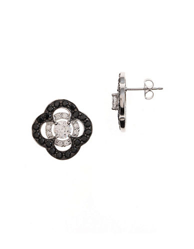 Lord & Taylor Sterling Silver and Crystal Clover Stud Earrings