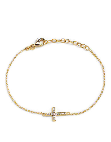LORD & TAYLOR 18 Kt Gold Over Sterling Silver and Cubic Zirconia Sideways Cross Bracelet