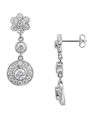 LORD & TAYLOR Sterling Silver and Cubic Zirconia Drop Pendant Earrings