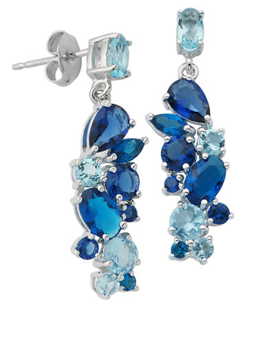 LORD & TAYLOR Sterling Silver and Mixed Blue Stone Drop Earrings