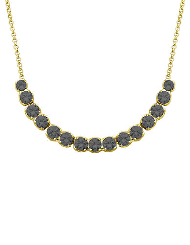 LORD & TAYLOR 18K Gold and Black Glitz Frontal Necklace