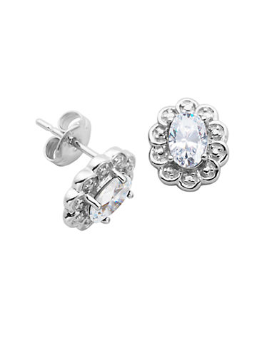 April Birthstone Cubic Zirconia and Sterling Silver Stud Earrings