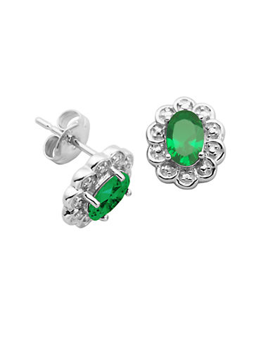 May Birthstone Emerald Cubic Zirconia and Sterling Silver Stud Earrings