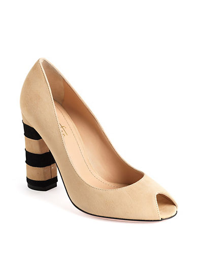 Suede Peep-Toe Stacked Heel Pumps