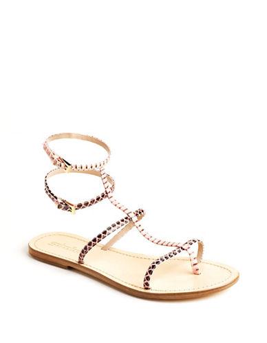 SEBASTIANRosa Snakeskin T-Strap Leather Sandals