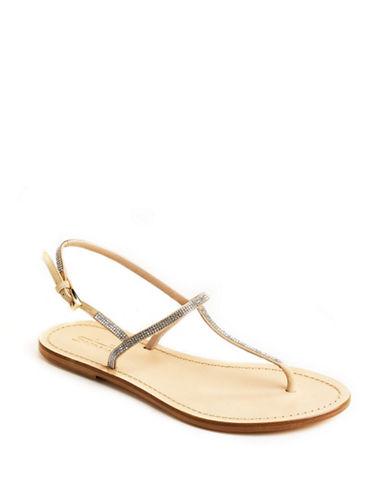 SEBASTIANEmbellished T-Strap Leather Sandals