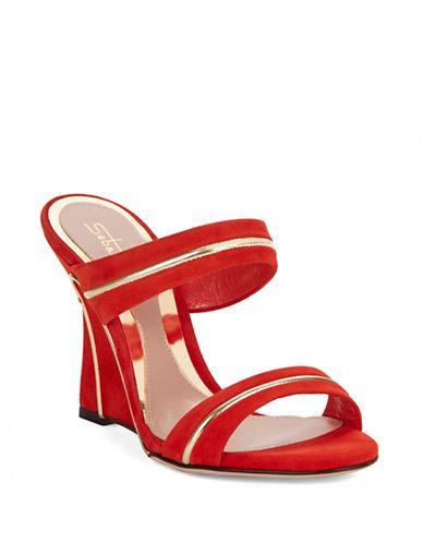SEBASTIANWire-Rimmed Suede Wedge Sandals