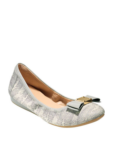 COLE HAAN Talibow Snake Print Leather Flats