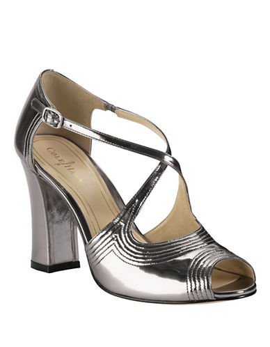 COLE HAAN Jovie Metallic Leather High-Heel Sandals